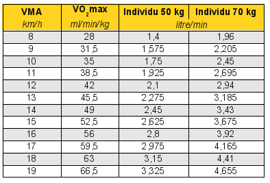 Connaissances utiles l 39 enseignement de la cp5 page 2 3 ducation physique et sportive - Test vo2max sur tapis roulant ...