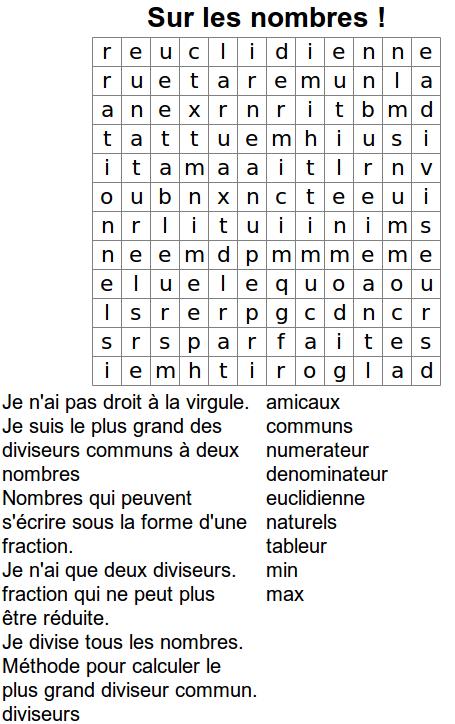 Grilles de mots m l s page 3 4 math matiques p dagogie acad mie de poitiers - Grille de mots meles a imprimer ...
