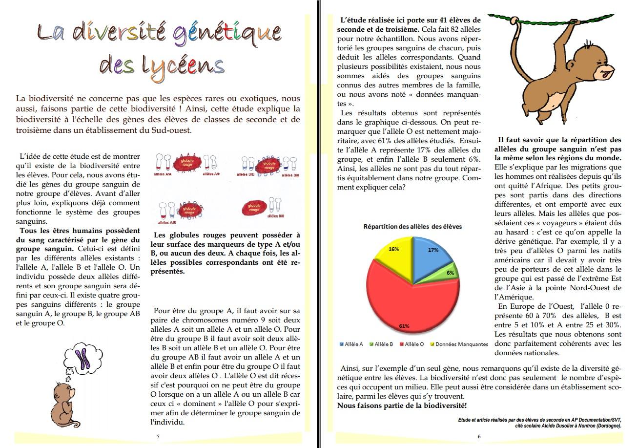 Projet biodiversité pluridisciplinaire inter ...